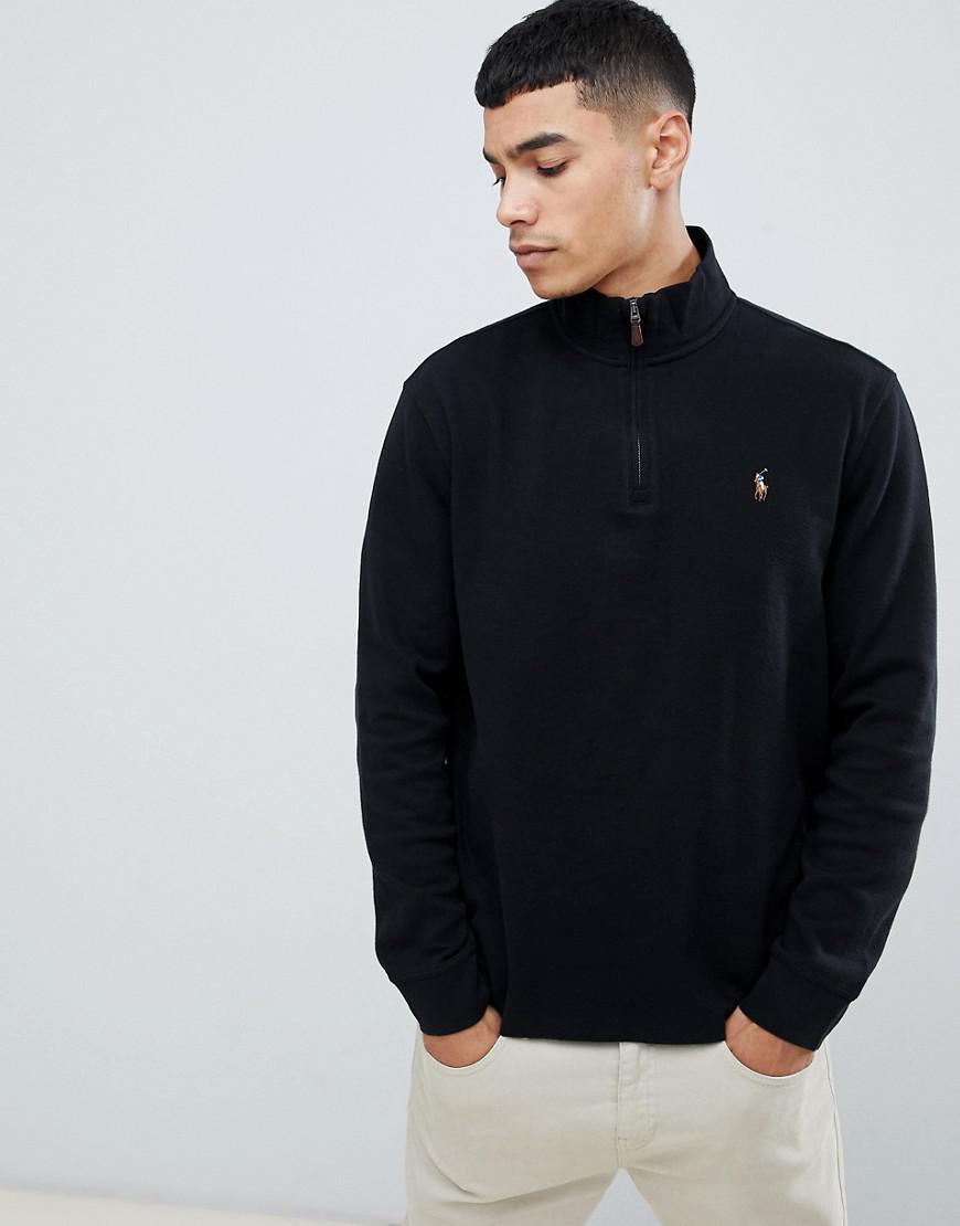 66246ba1d1f45 Lyst - Pull en tricot de coton demi-fermeture clair avec logo joueur ...