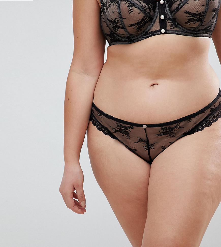 62e244ac05 Lyst - ASOS Premium Pearl   Lace Hipster Bikini Bottom in Black