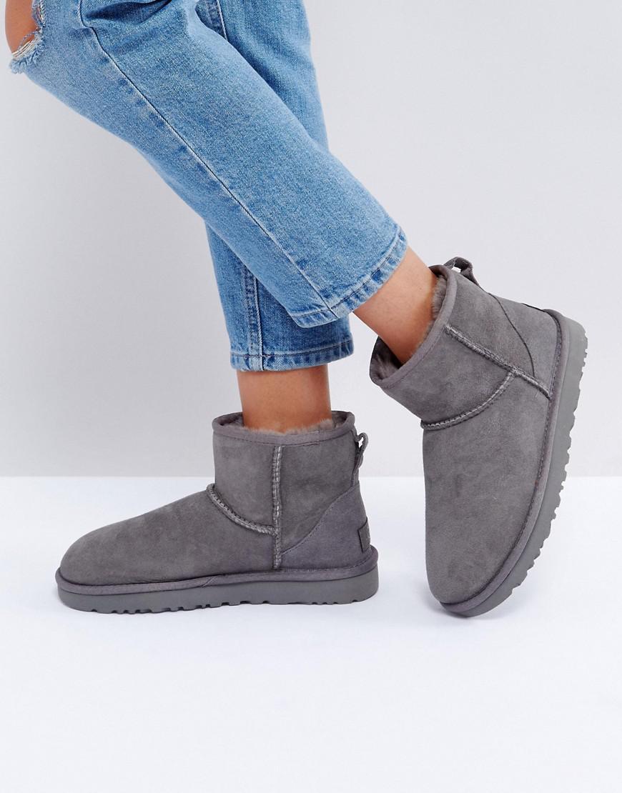UGG. Women's Gray Classic Mini Ii Grey Boots