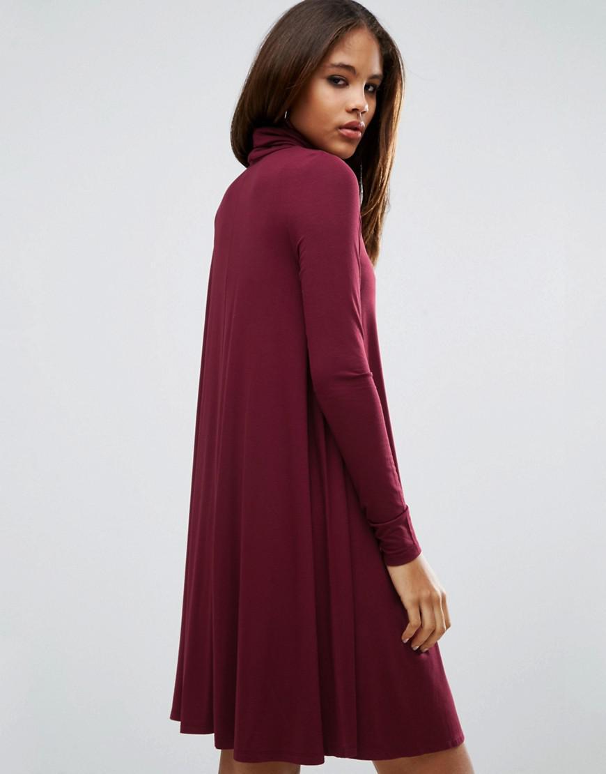 7de1cbcd3aada ASOS Swing Dress With Turtleneck & Long Sleeves in Red - Lyst