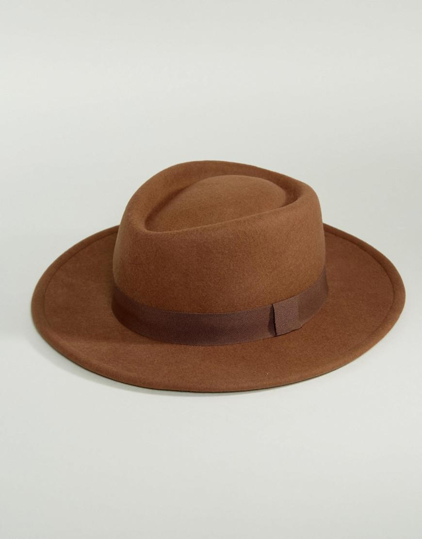 Lyst - ASOS Pork Pie Hat In Camel With Diamond Crown in Brown for Men 16bf30e2e6af