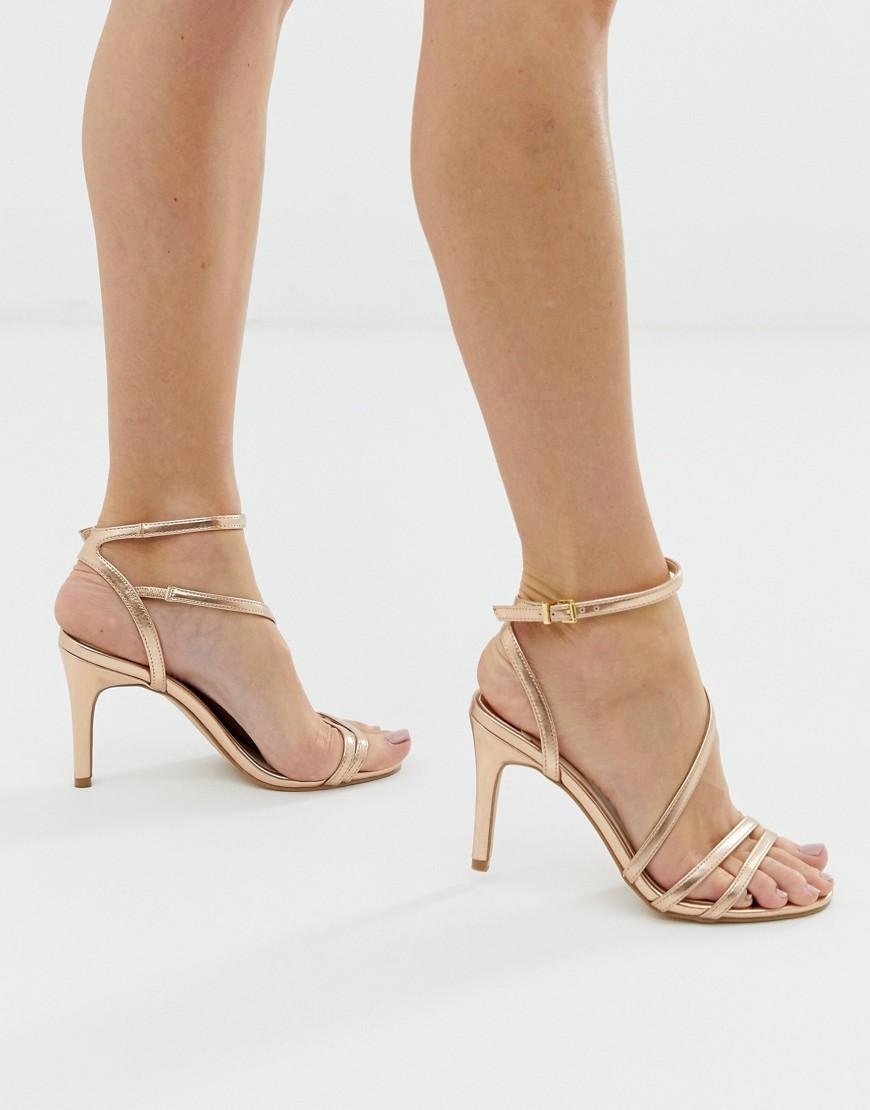 f063ab89172 Faith Delly Rose Gold Strappy Heeled Sandals in Pink - Lyst