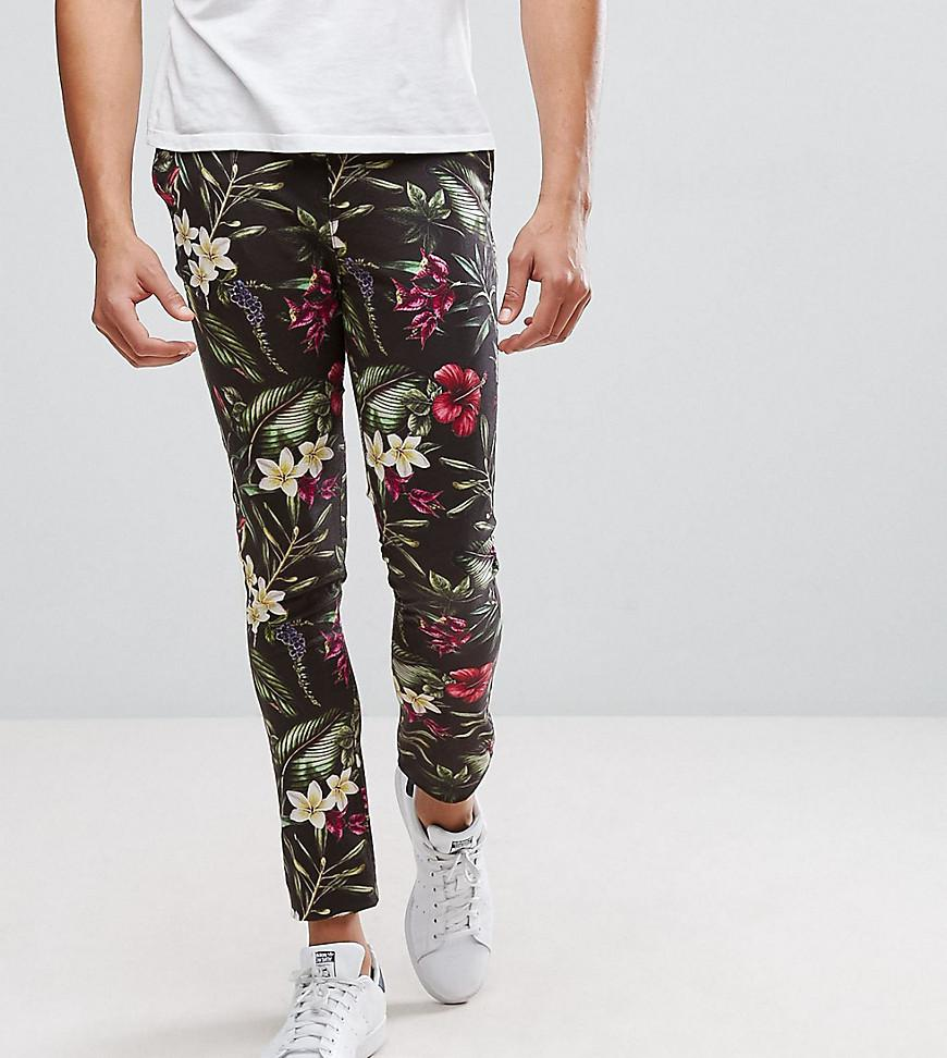Grands Super-pantalon Slim En Impression Feuille Floral Lumineux - Asos Noir Cy3jitNBr