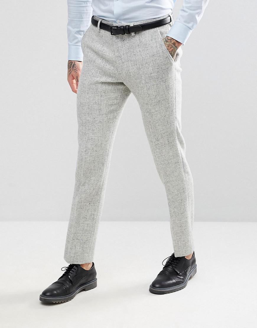 Cheap Fashion Style Outlet Store For Sale Tapered Smart Trousers in 100% Wool Harris Tweed In Light Grey Check - Grey Asos Nicekicks Sale Online Top Quality Wholesale Price Cheap Online qnBkZ