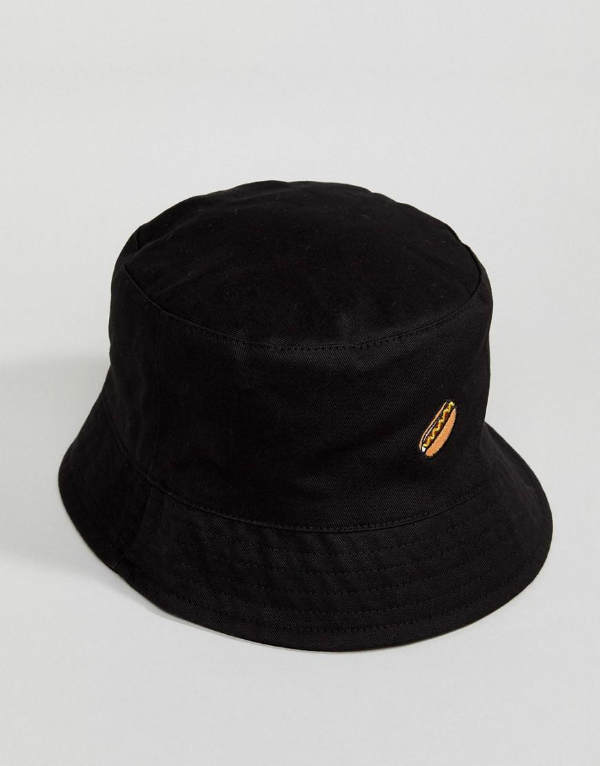 fa5fa8acd84c8 Lyst - ASOS Asos Bucket Hat In Black With Hot Dog Embroidery in ...