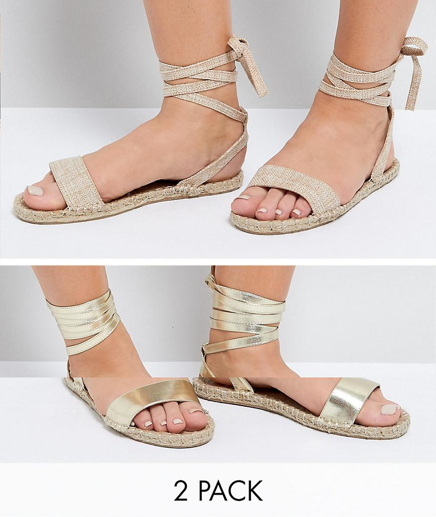 bce3250a8c Lyst - ASOS Design Wide Fit Jenica Two Pack Espadrille Sandals