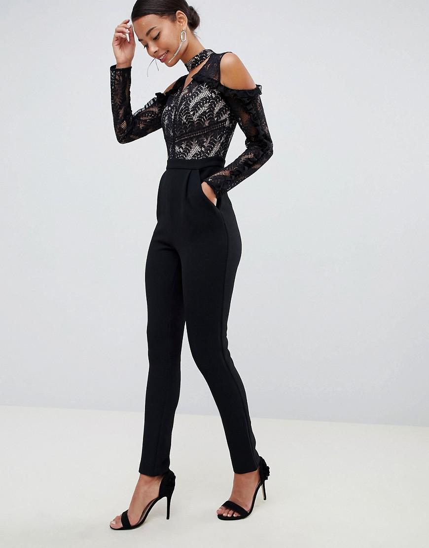 3c8164b407d Lyst - True Decadence Cold Shoulder Lace Top Jumpsuit With Ruffle Sleeves  in Black