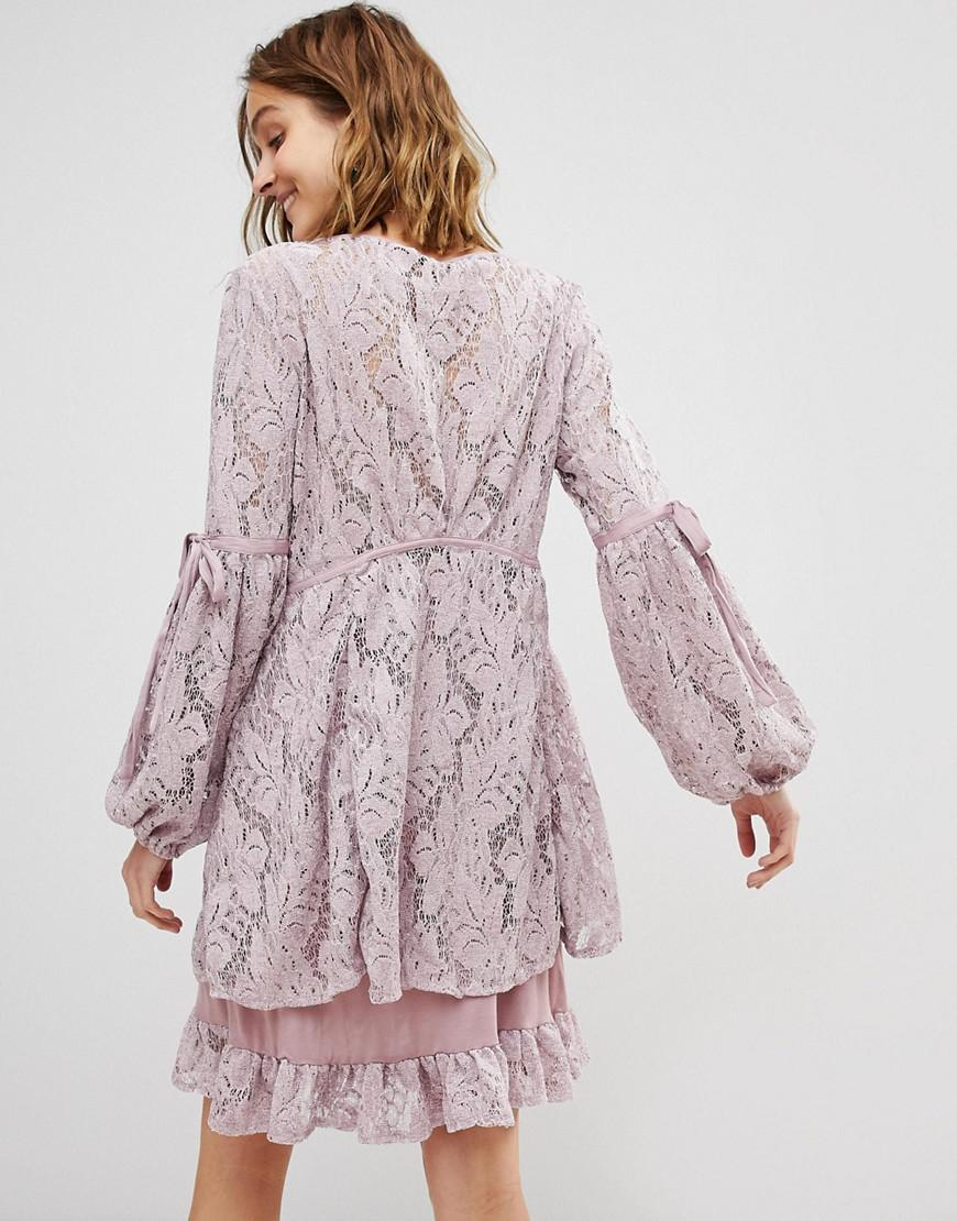 3c4faa365f034 Free People Ruby Lace Dress With Tie Sleeves in Pink - Lyst