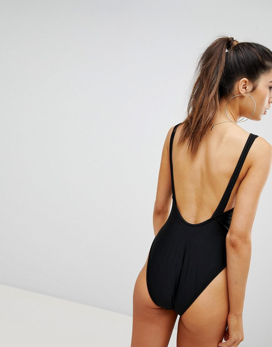 1520c8a2da Lyst - ASOS Two Tone Sequin Embellished Plunge Swimsuit in Metallic