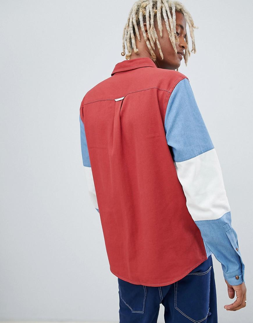 e0afbb6325 ASOS Oversized Colour Block Denim Shirt in Blue for Men - Lyst
