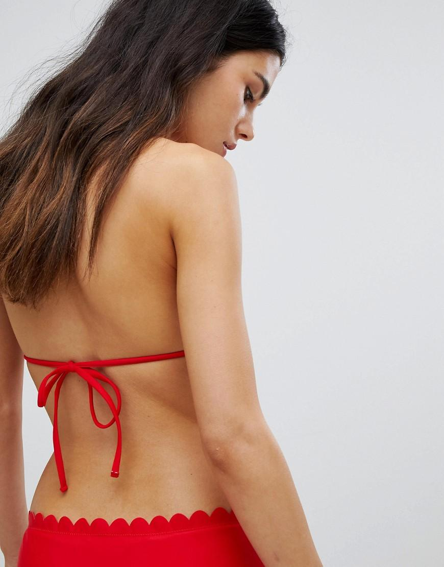 00927aa7939ef Lyst - South Beach Exclusive Mix And Match Scallop Edge Triangle Bikini Top  in Red