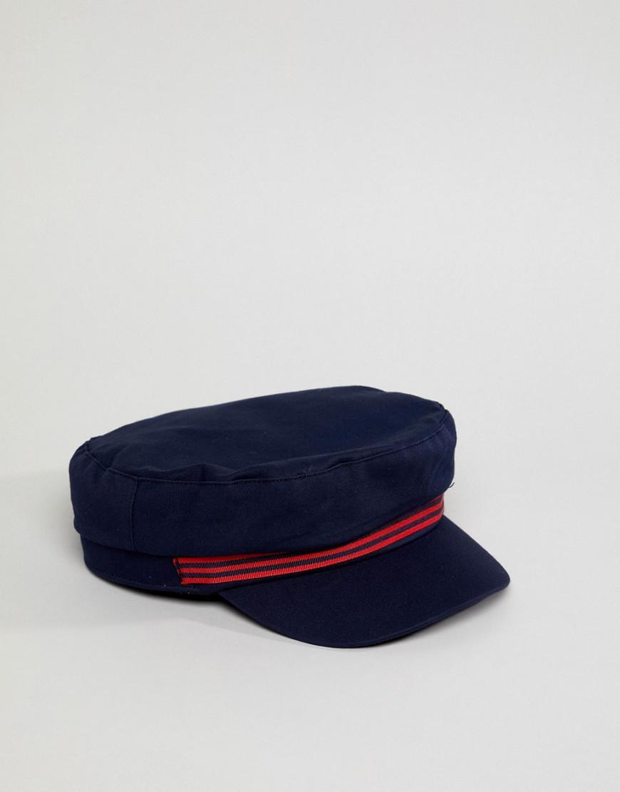 Stradivarius Contrast Stripe Baker Boy Hat in Blue - Lyst bebf920d6c7