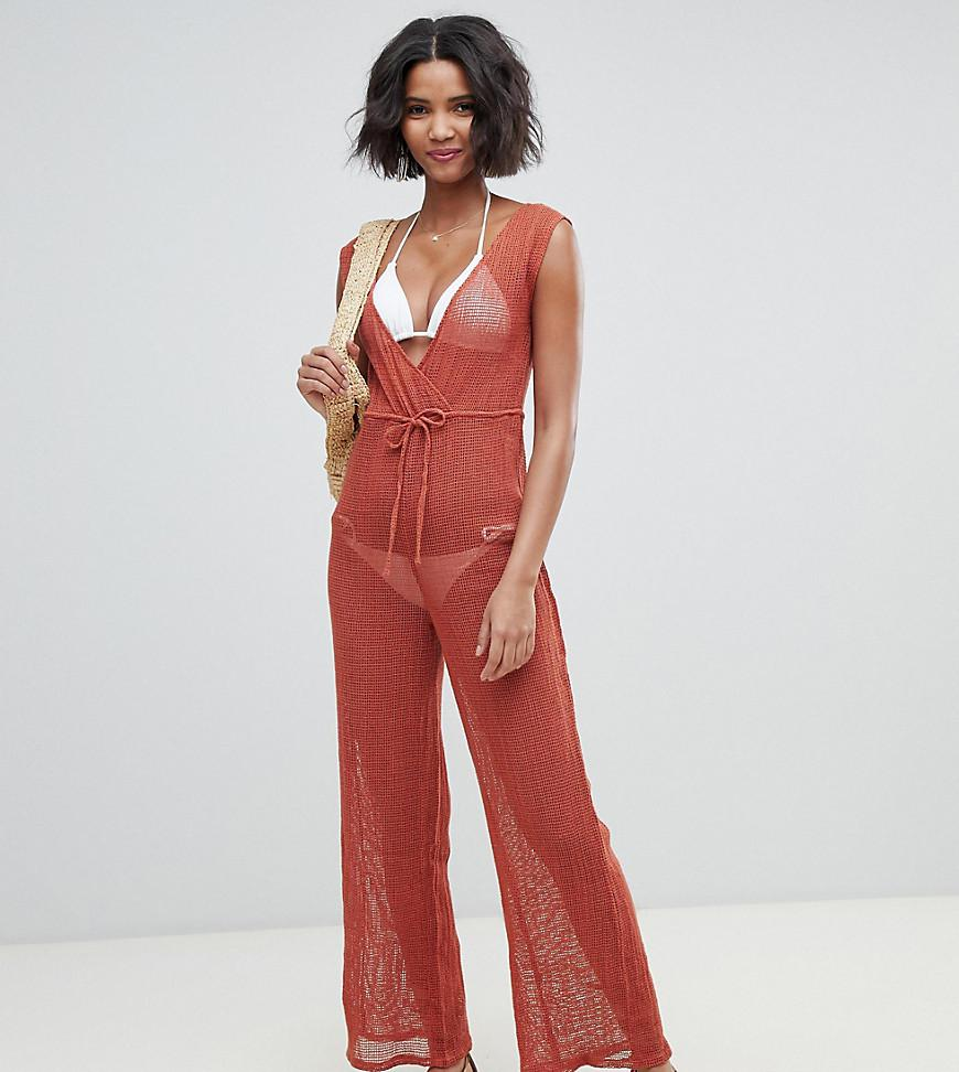 4233950500b Lyst - Akasa Exclusive Grid Mesh Beach Jumpsuit In Spice in Black