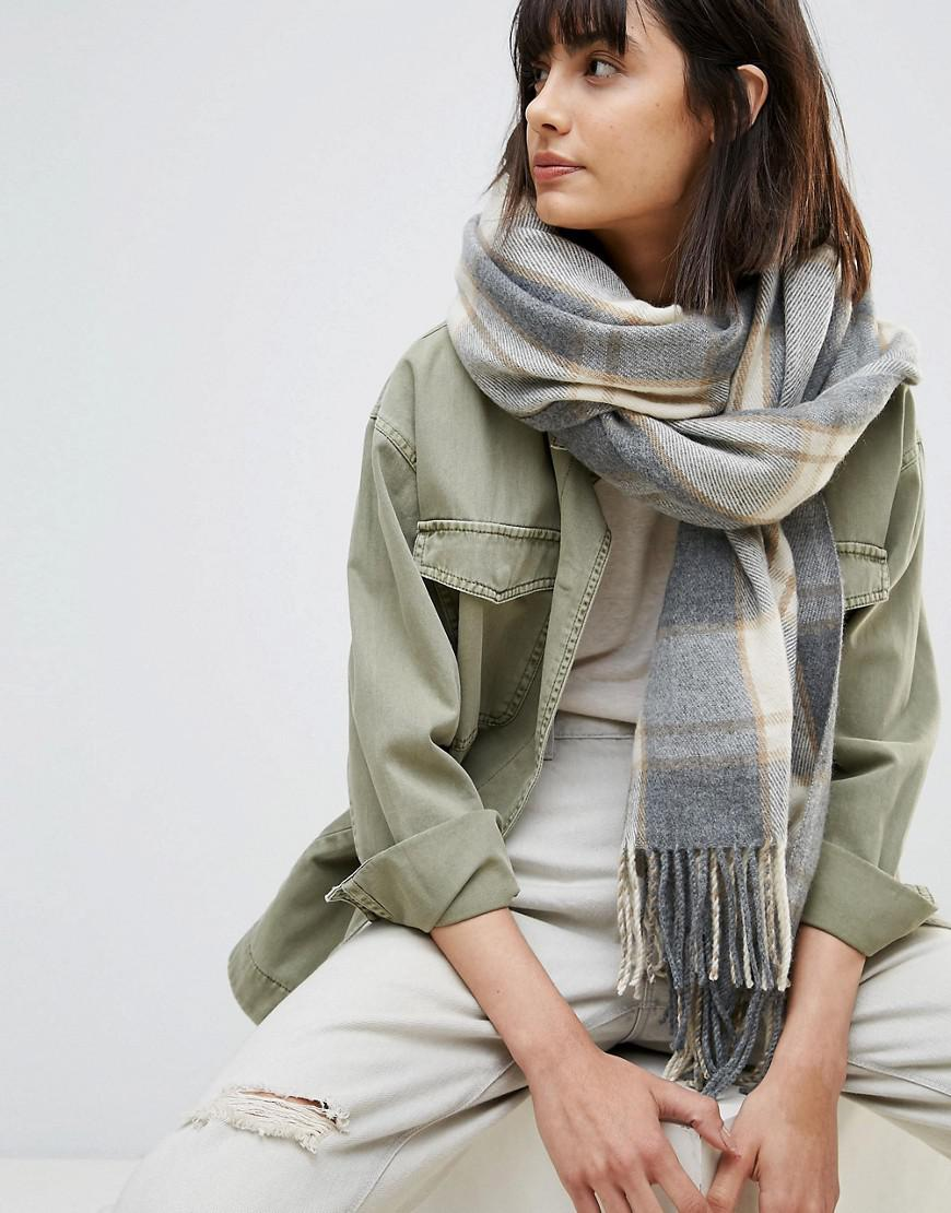 Lyst - ASOS Oversized Long Scarf In Natural Check With Tassels in Gray eb1e5affcb5