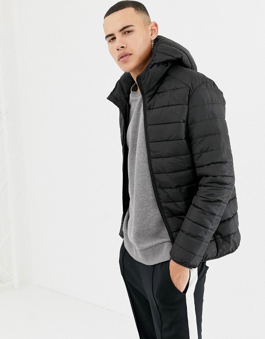 cd9c1e096ad492 Lyst - Only   Sons Hooded Quilted Jacket in Black for Men