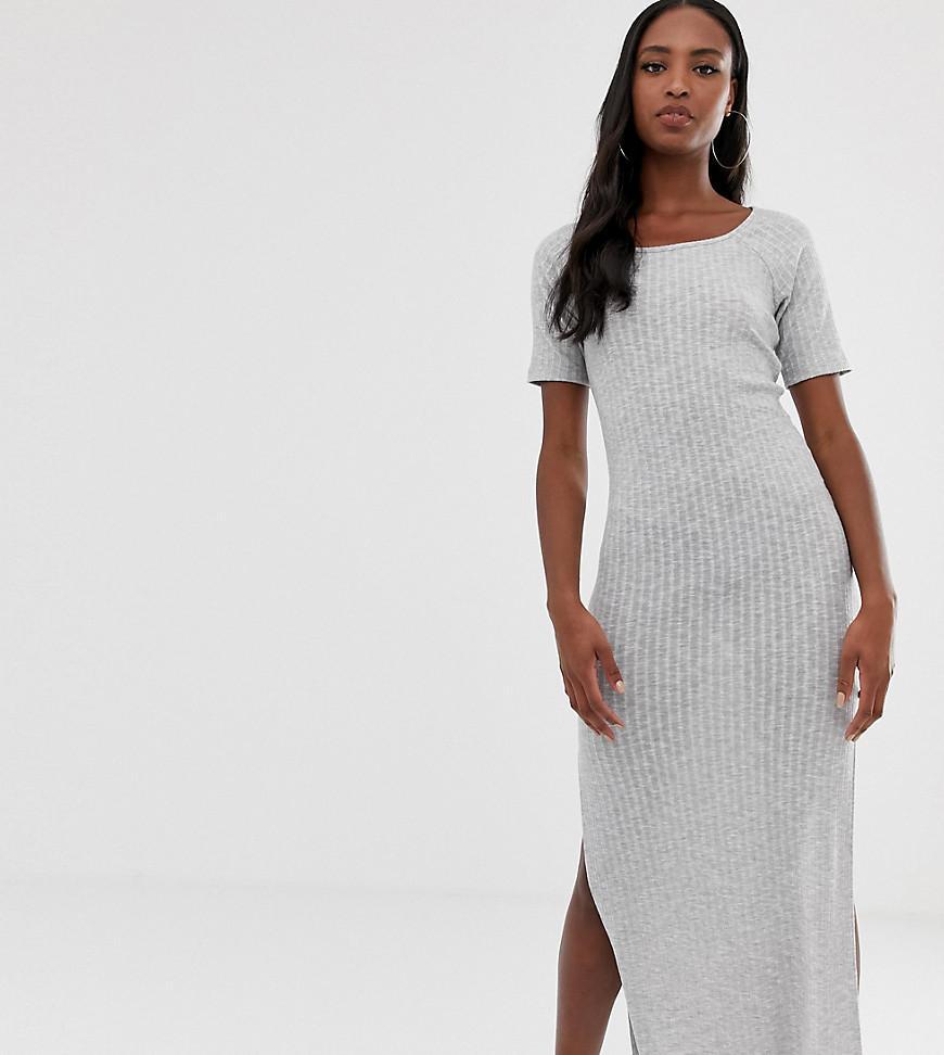 c3c8824cb94 ASOS Asos Design Tall Rib Maxi T-shirt Dress in Gray - Lyst