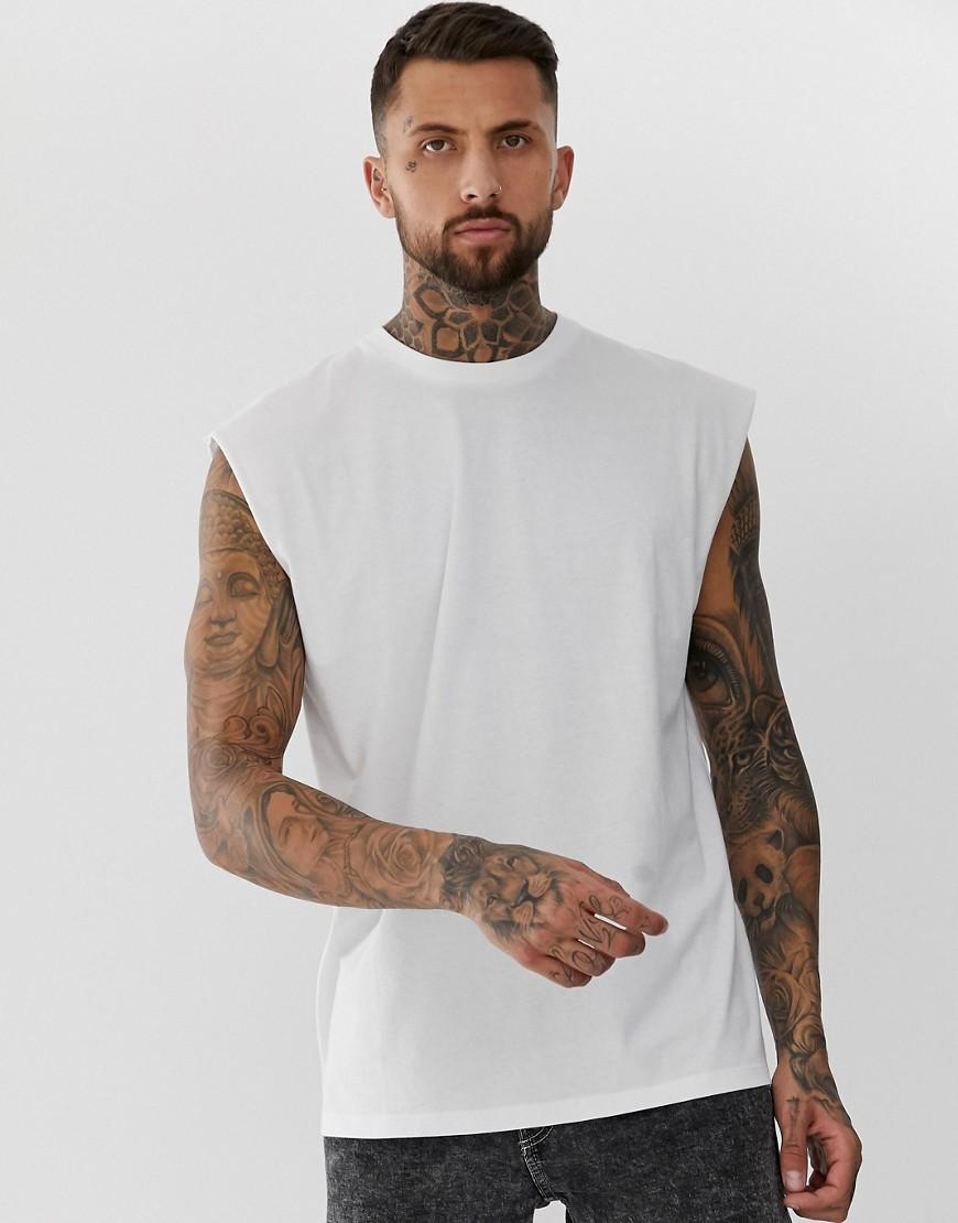 5c86ba666502 Lyst - ASOS Oversized Longline Sleeveless T-shirt In White in White ...