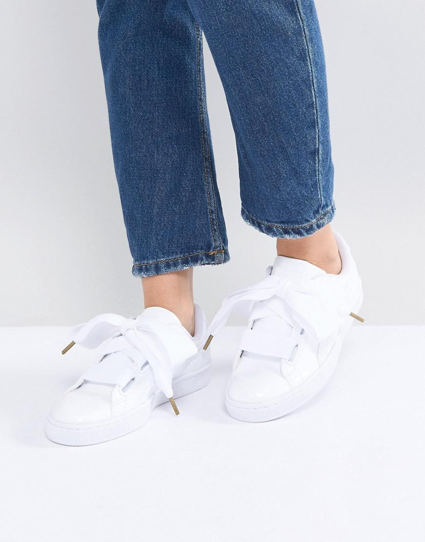 detailed look 09d6d 44521 PUMA Basket Heart Trainers In Patent White in White - Lyst