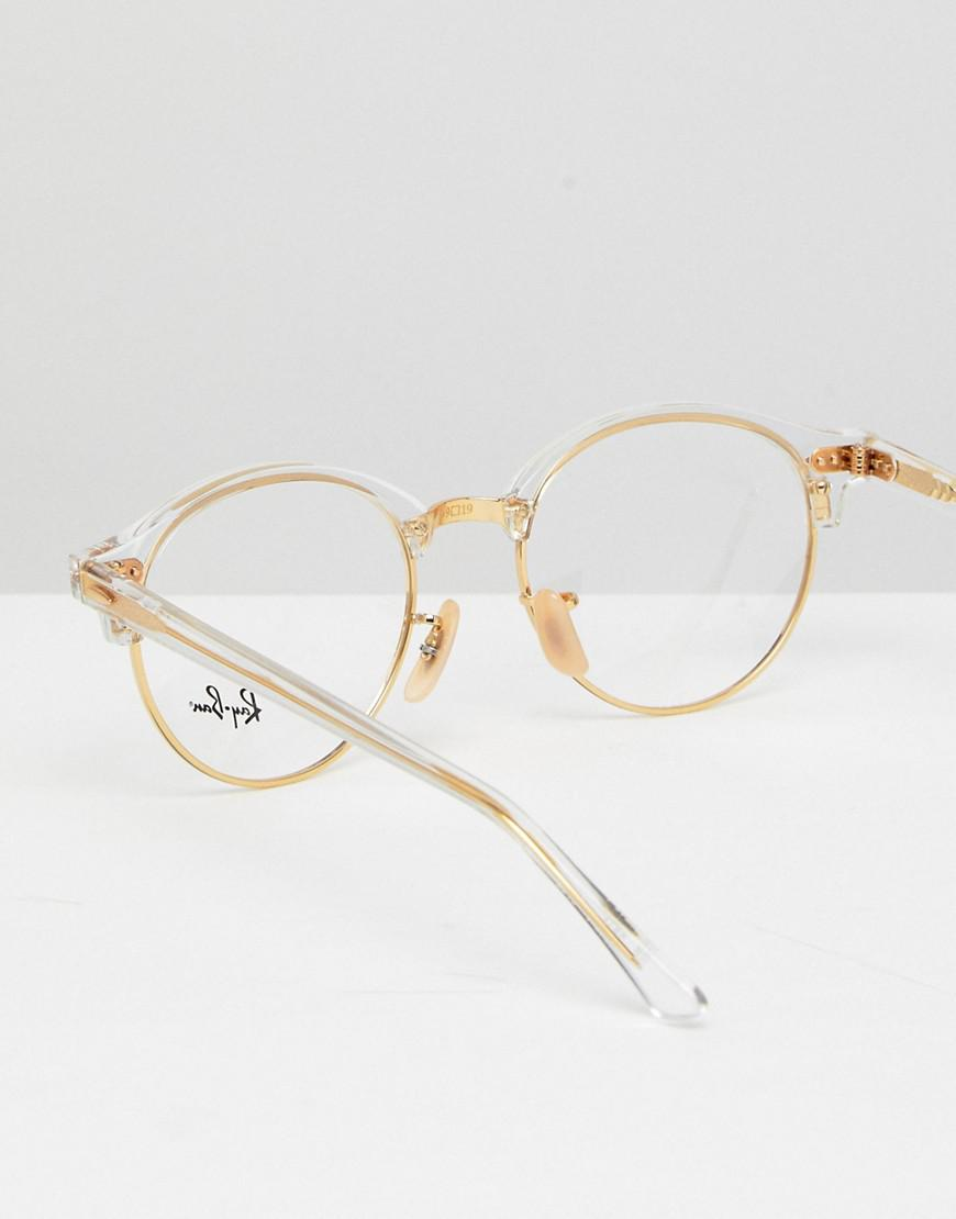 Ray Ban 0rx4246v Round Clear Lens Glasses In Gold 49mm In