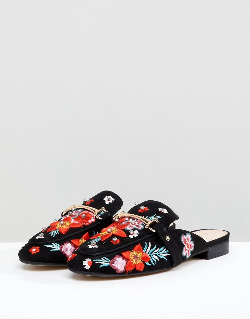 Aldo Slip On Mule with Floral Embroidery