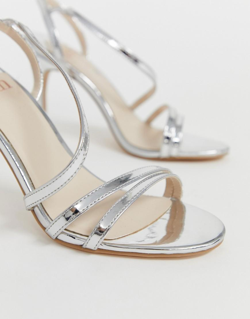 72319e2cf18 Faith Delly Silver Heeled Sandals in Metallic - Lyst