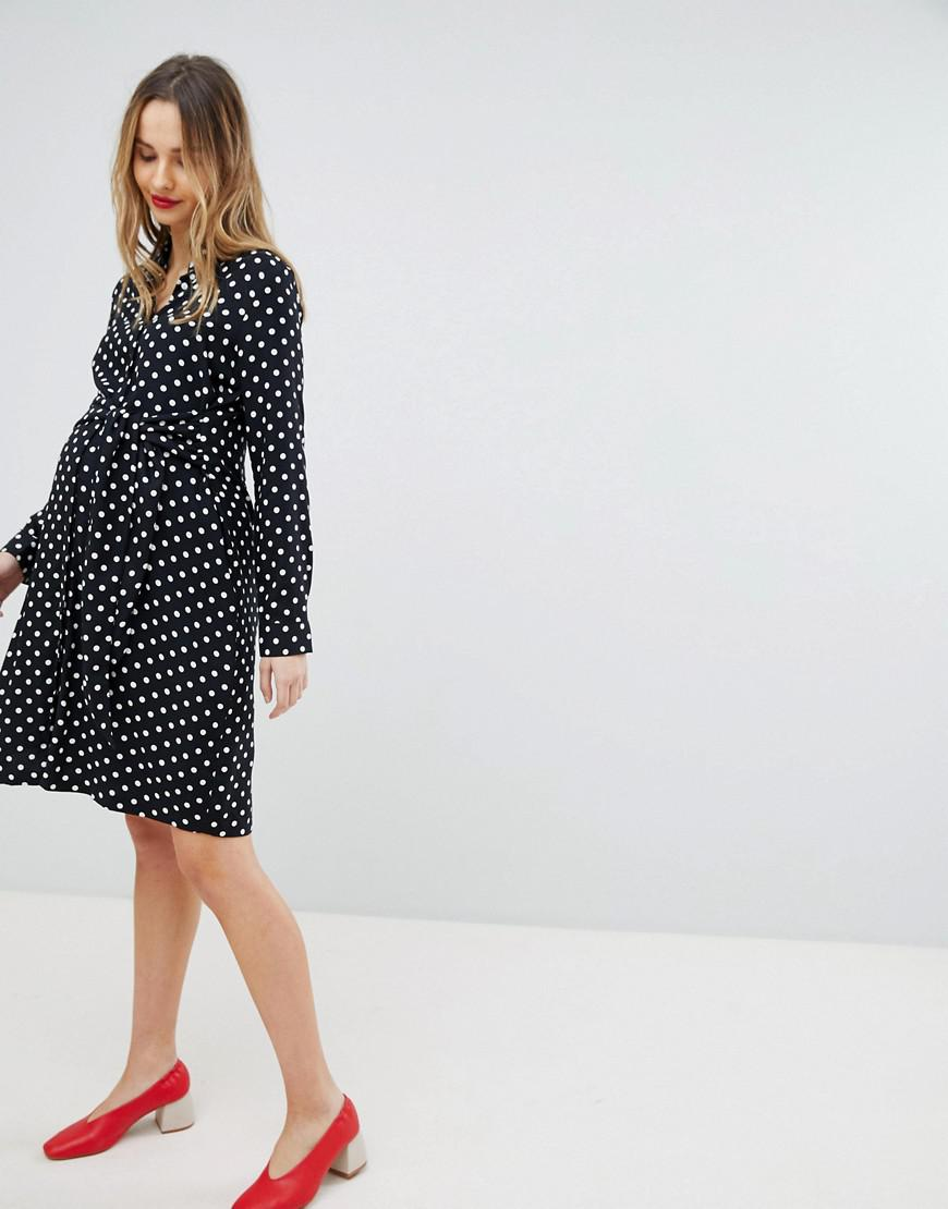 0b150b5716bdb Isabella Oliver Polka Dot Shirt Dress With Wrap Tie Waist in Black ...