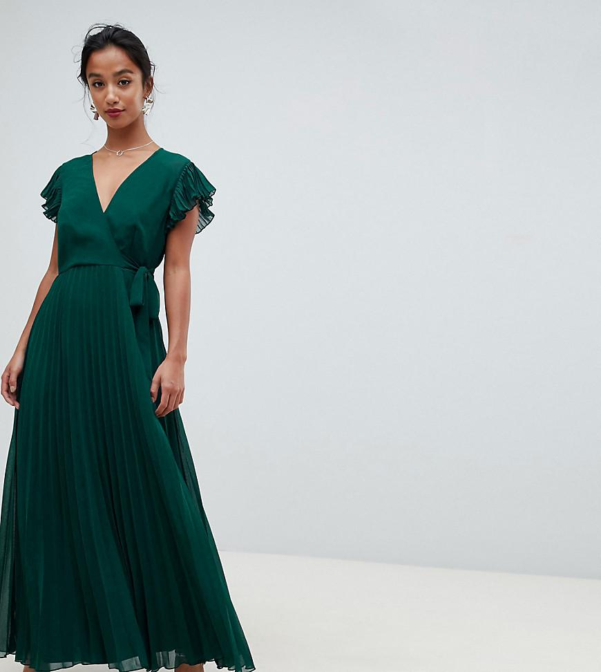 0f04863f72f ASOS. Women s Green Asos Design Petite Pleated Maxi Dress With Flutter  Sleeve