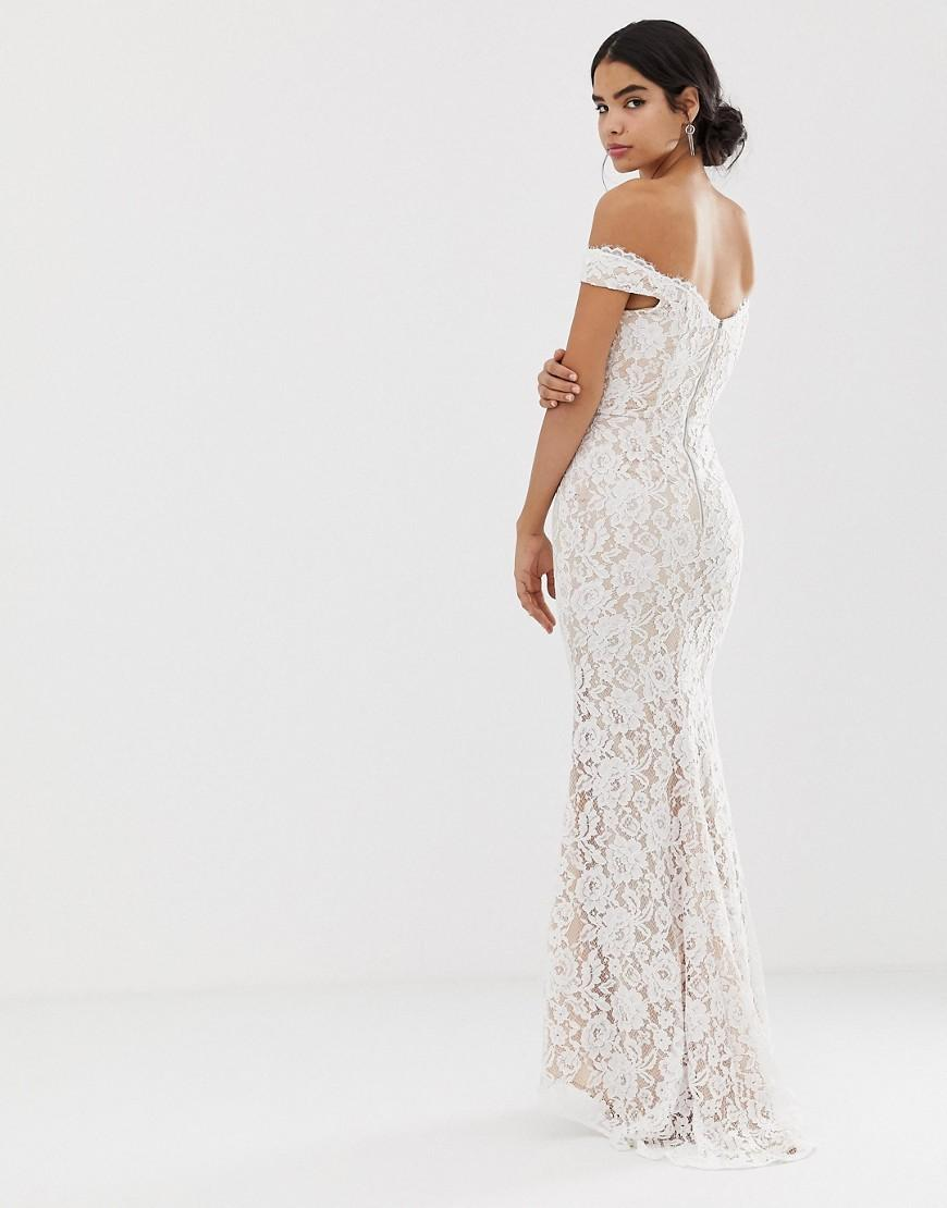 7d38ab44da45 Jarlo All Over Lace Bardot Maxi Dress In White in White - Lyst