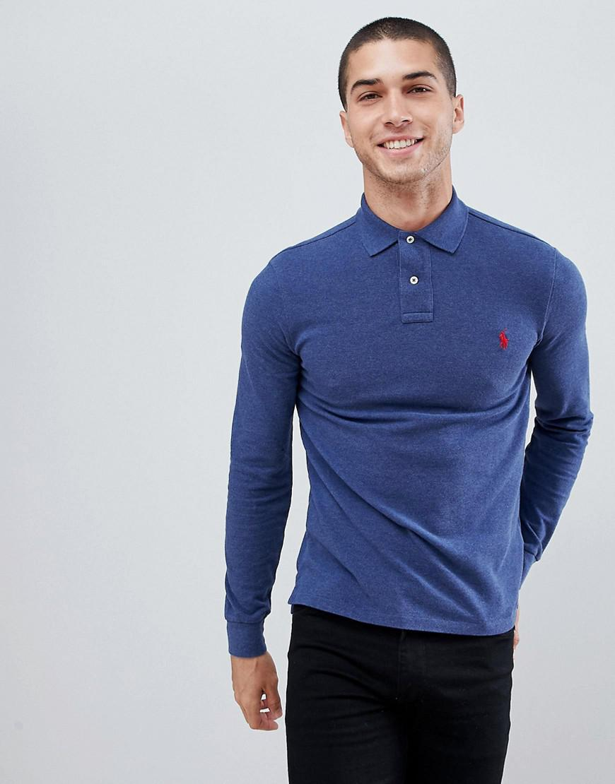 82211d68 Polo Ralph Lauren Slim Fit Long Sleeve Pique Polo Player Logo In ...