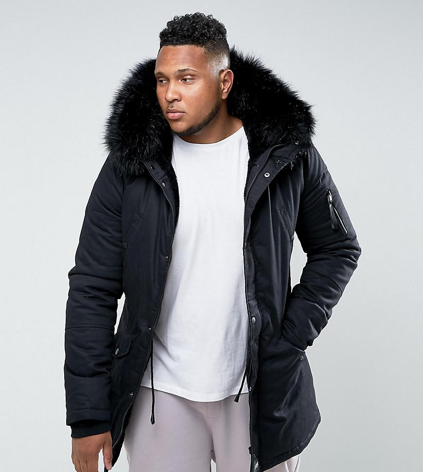 57bf5a63906a3 Sixth June Parka Jacket In Black With Faux Fur Hood Exclusive To ...