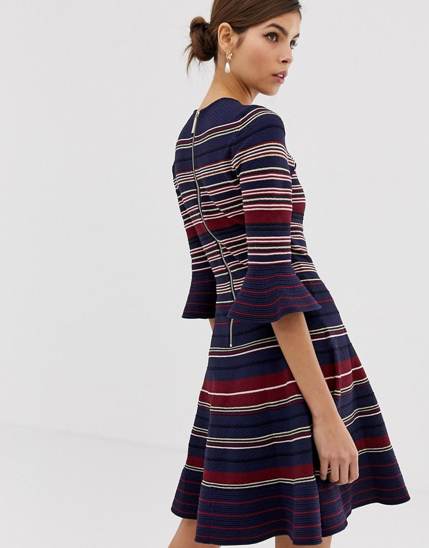 ca757a584a052 Ted Baker Tayiny Striped Skater Dress in Blue - Save 25% - Lyst