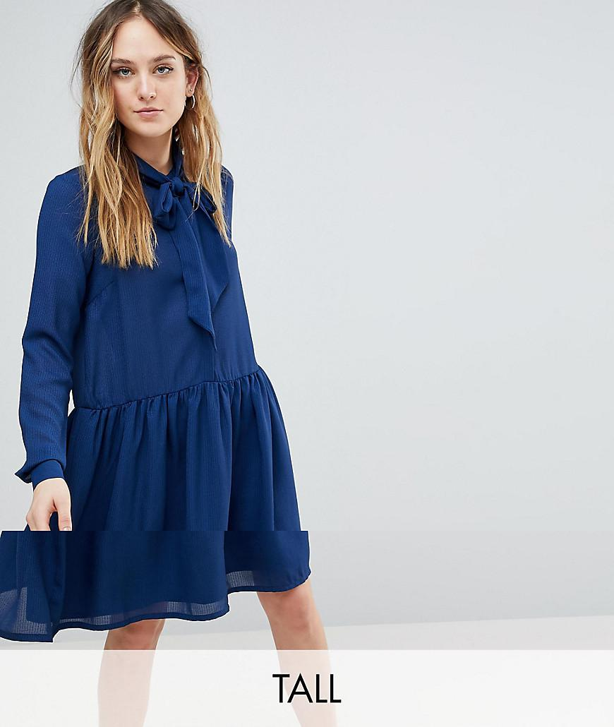 6772acb124 Lyst - Y.A.S Pussybow Skater Dress in Blue