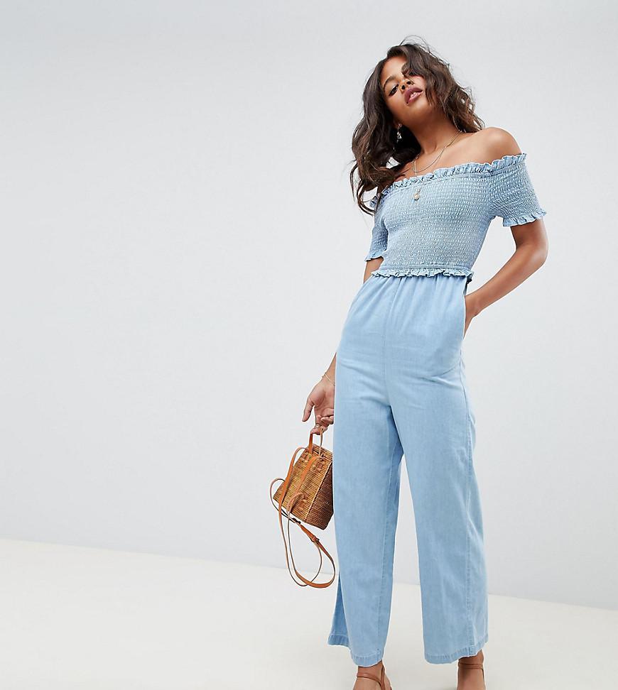 f65f254dd09 ASOS. Women s Asos Design Tall Denim Shirred Bardot Jumpsuit In Lightwash  Blue
