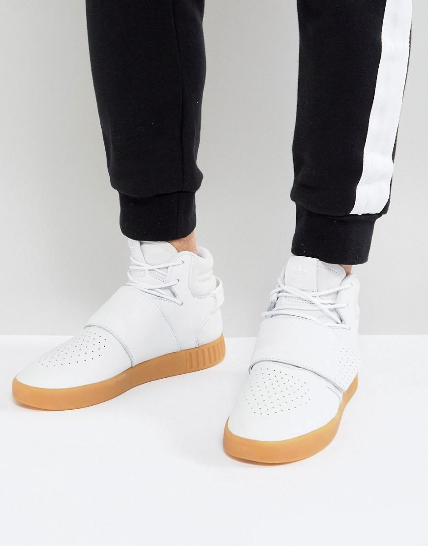 100% authentic 973f1 aeda9 adidas Originals Tubular Invader Strap Trainers In White By3