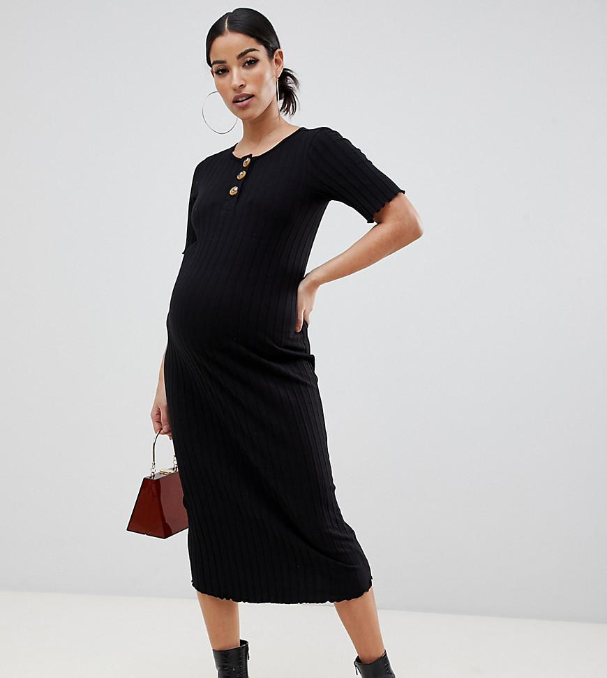 6eb2a4e2294c Lyst - ASOS Asos Design Maternity Midi Rib Bodycon Dress With Faux ...
