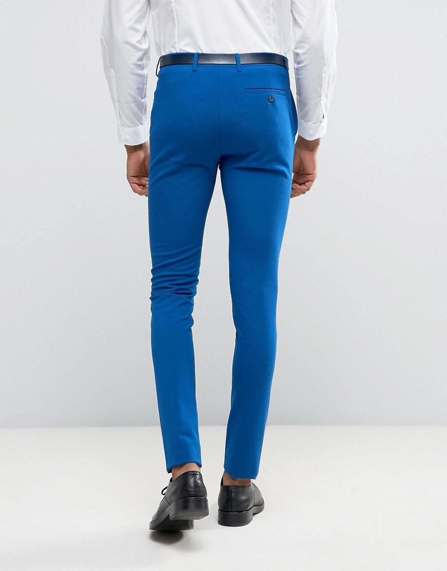 Asos Synthetic Tall Super Skinny Suit Pants In Royal Blue