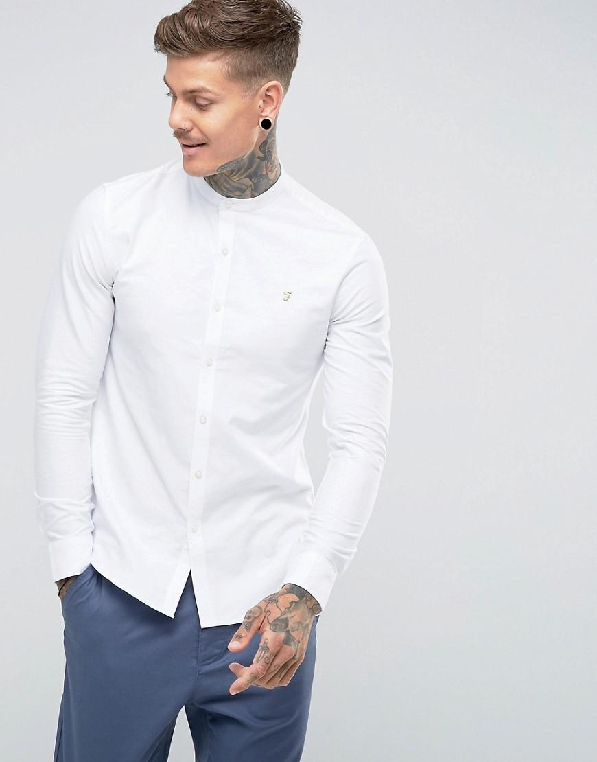 699b4ee75d Lyst - Camisa Oxford de corte slim con cuello mao en blanco Brewer ...