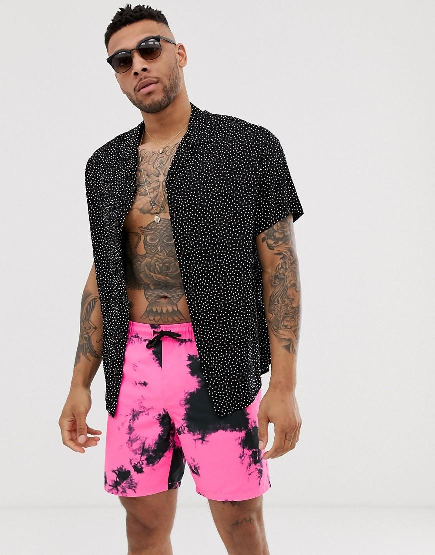 6cbc670011c05 ASOS Swim Shorts In Neon Pink Tie Dye Mid Length in Pink for Men - Lyst