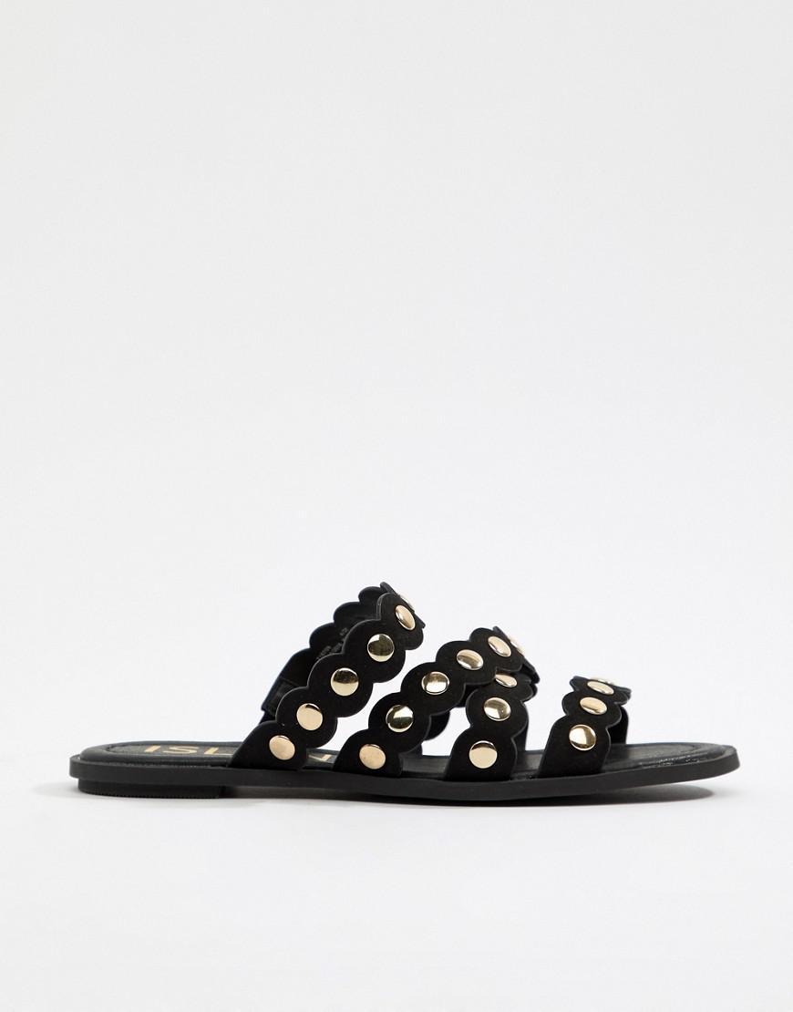 57b7401de64 River Island Sandals With Scallop Edge In Black in Black - Lyst