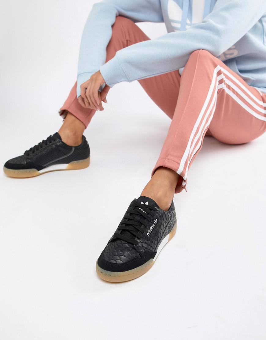 Lyst - adidas Originals Continental 80 s Sneakers In Black With Gum ... 28c906c55