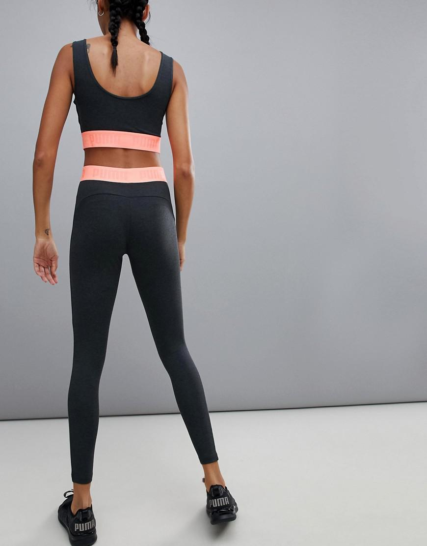 528a4984b77a8 Puma Active Essential Banded Leggings With Pink Waistband in Pink - Lyst