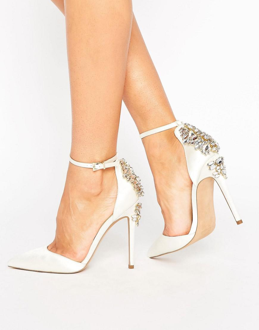 0884ebbb70a4 Lyst - ASOS Palais Bridal Embellished High Heels in Natural