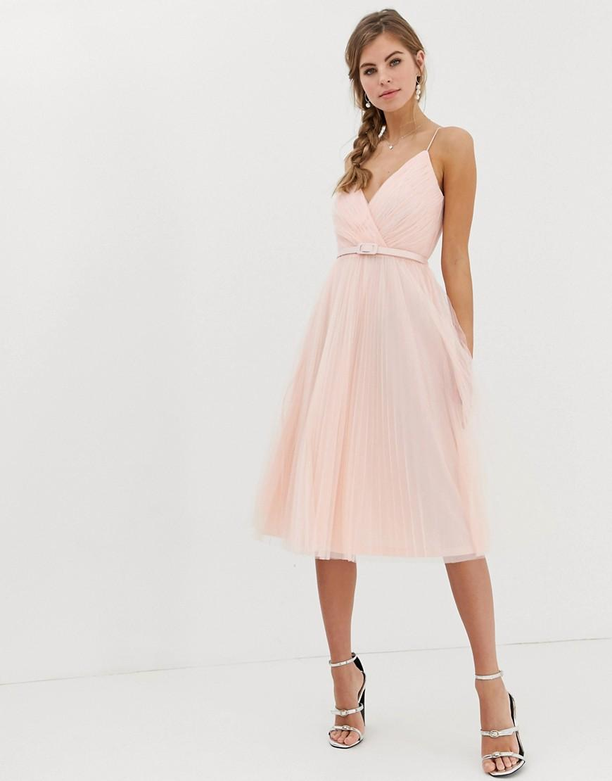 aed104cf0d Lyst - ASOS Belted Pleated Tulle Cami Midi Dress in Pink