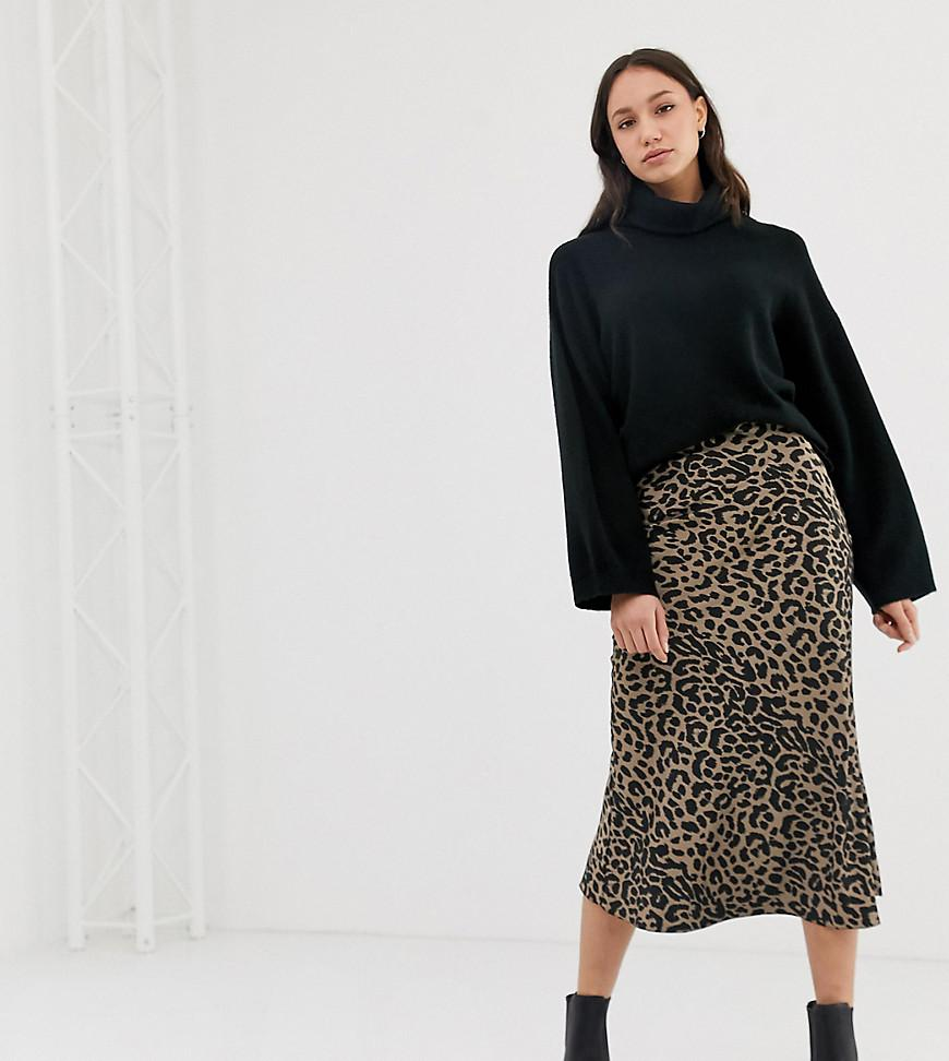 45e0e96d80 ASOS Asos Design Tall Bias Cut Satin Midi Skirt In Leopard Print in ...