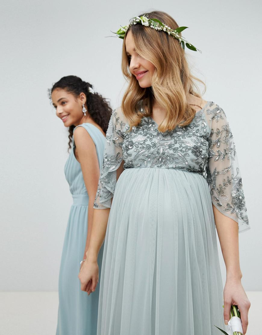 Maya Maternity Sequin Cape Tulle Skirt Maxi Bridesmaid Dress in ...