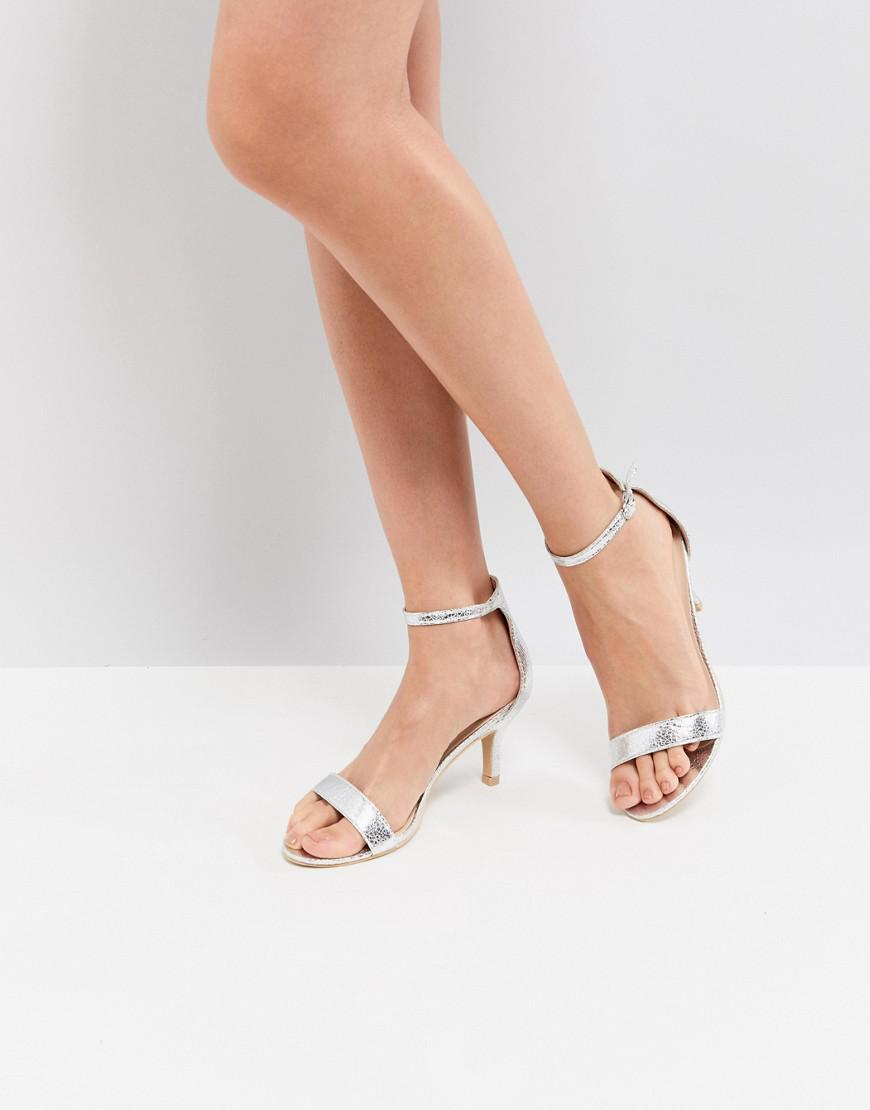 068212ac5ff Glamorous Silver Barely There Kitten Heeled Sandals in Metallic - Lyst