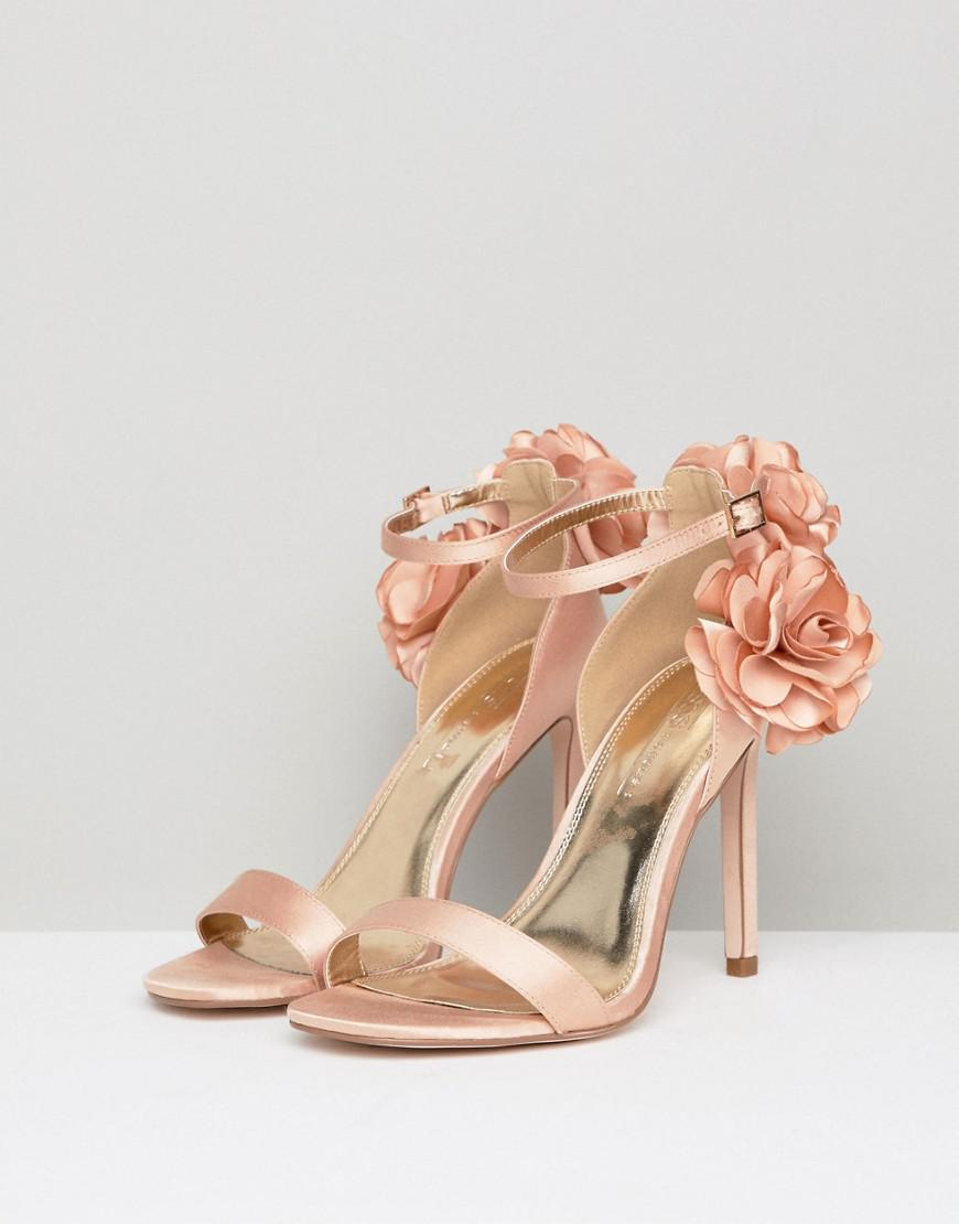 e3b6e145868 Lyst - ASOS Holden Wide Fit Corsage Heeled Sandals in Natural