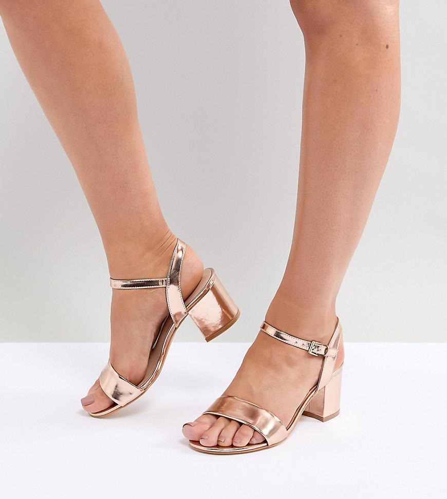 357b11633add Lyst - London Rebel Wide Fit Block Heeled Sandals in Metallic
