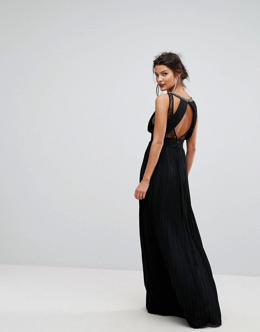 14ac3677ad Lyst - TFNC London High Neck Embellished Maxi Dress With Lace Insert in  Black