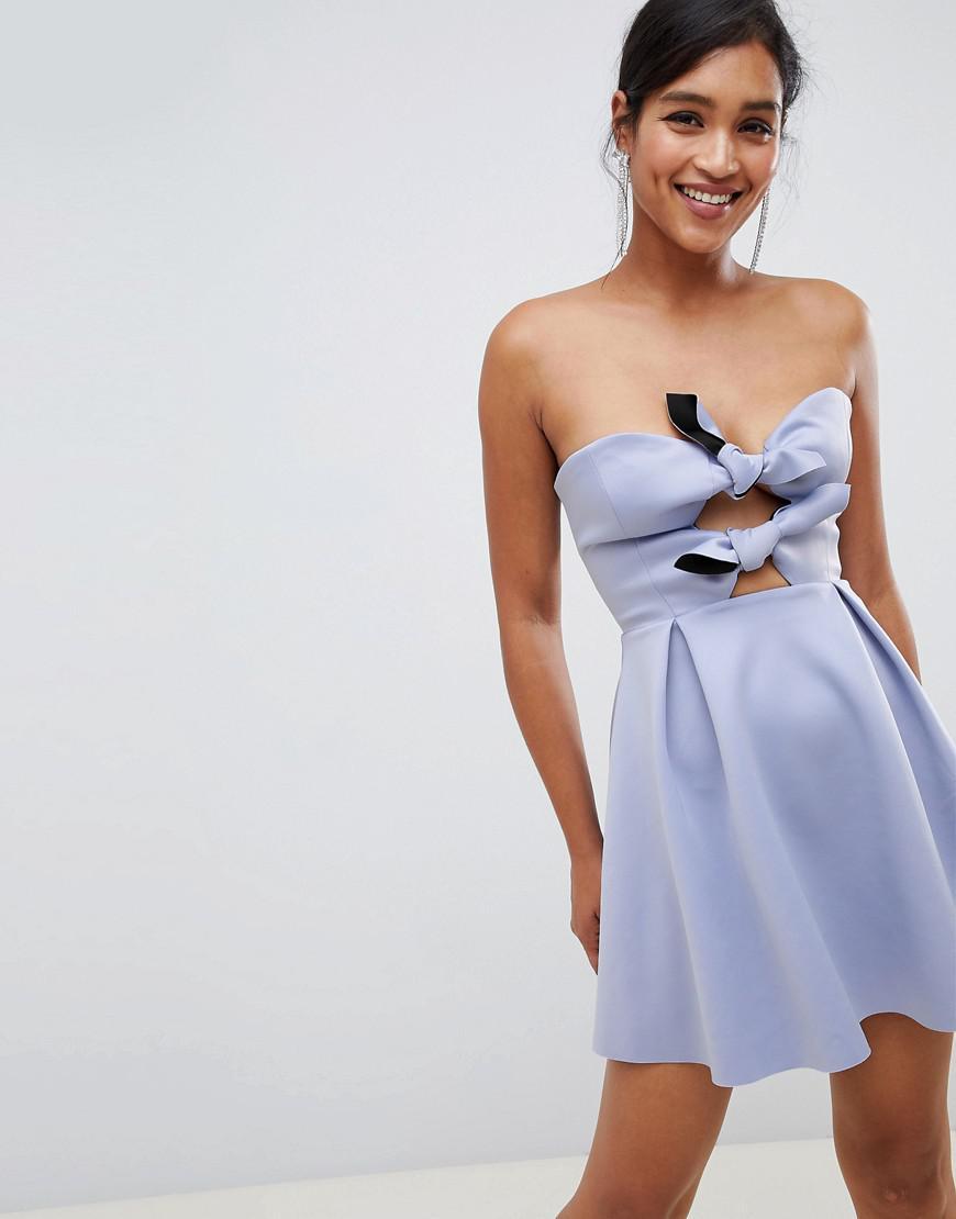 03c950845215 ASOS Scuba Knot Front Mini Skater Dress in Blue - Lyst